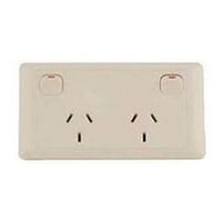Cms Double Beige 10amp Power Outlet W/20amp Install Couplers. J16.2bg