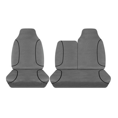 Tuff Terrain Canvas Grey Seat Cover to Suit Toyota HiAce LWB SLWB Van Bucket & 3/4 Bench 05-14 FRONT